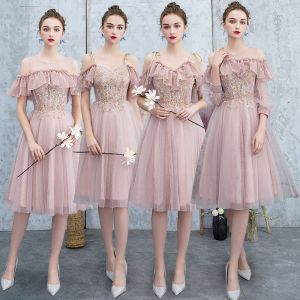 Best Blushing Pink Bridesmaid Dresses 2019 A-Line / Princess Appliques Lace Beading Glitter Tulle Knee-Length Ruffle Backless Wedding Party Dresses