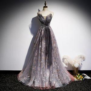 Fantazyjny Winogrono Sukienki Na Bal 2020 Princessa Kochanie Bez Rękawów Frezowanie Cekinami Tiulowe Trenem Sweep Wzburzyć Bez Pleców Sukienki Wizytowe