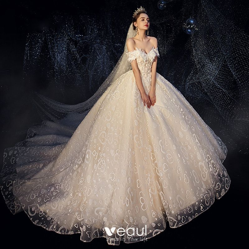 33e2989195 Romantic Champagne Wedding Dresses 2019 Ball Gown Off-The-Shoulder ...