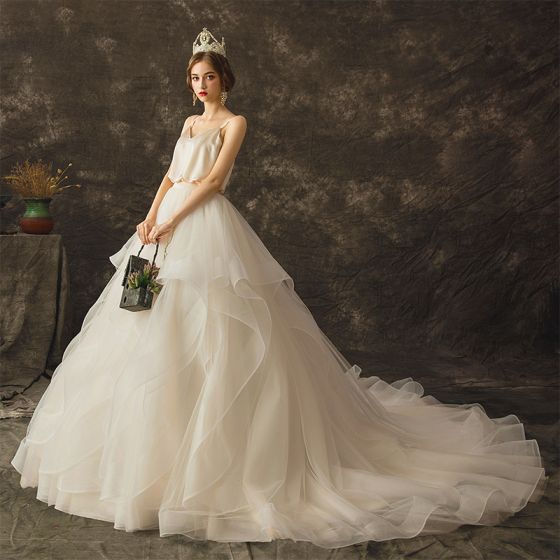 Modern / Fashion Champagne Wedding Dresses 2019 A-Line / Princess Spaghetti Straps Sleeveless Backless Chapel Train Cascading Ruffles