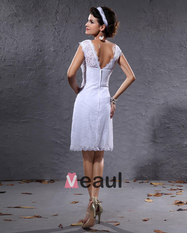 Elegante Satin Spitze V-ausschnitt Knielangen Kurz Mini-hochzeitskleid
