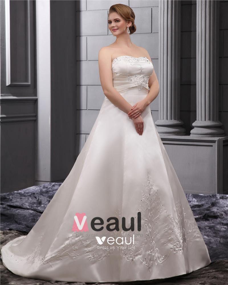 Elegant Strapless Floor Length Satin Embrpoidery Court Plus Size Bridal Wedding Dresses