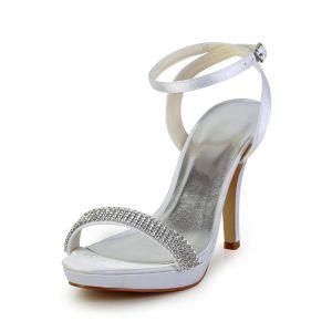 Sparkly Weiße Abendschuhe Satin Stilettos Pumps Sandale Mit Knöchelriemen