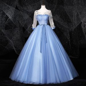 Elegant Sky Blue Prom Dresses 2020 Ball Gown Scoop Neck Bow Pearl Appliques 3/4 Sleeve Backless Floor-Length / Long Formal Dresses