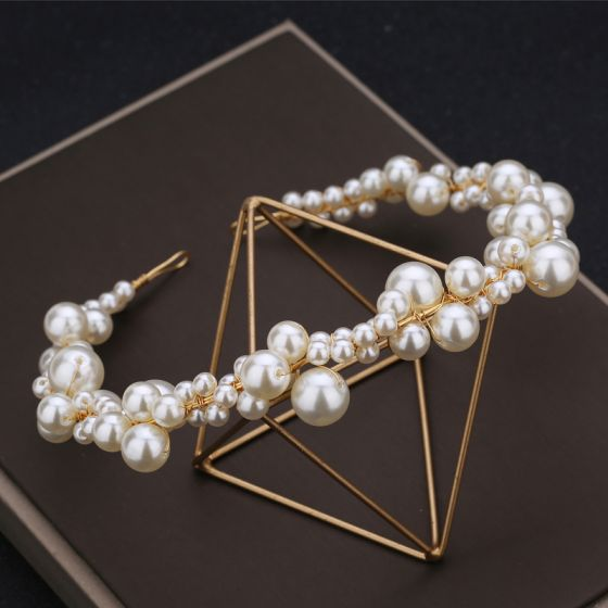 Charming Classic Elegant Ivory Handmade  2019 Beading Pearl Cocktail Party Evening Party Headpieces Wedding Accessories