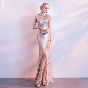 Błyszczące Szampan Sukienki Wieczorowe 2017 Syrena / Rozkloszowane Frezowanie Cekinami Perła Cekiny Wieczorowe Sukienki Wizytowe