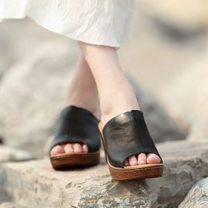 Chic / Belle 2017 6 cm Noire Jaune Plage Désinvolte Jardin / Extérieur Cuir Été Percé Talons Hauts Plateforme Sandales Peep Toes / Bout Ouvert Sandales Femme