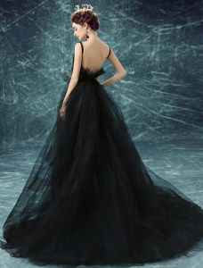 Glamorous Prom Dresses 2017 Deep V-neck Backless Black Tulle Dress