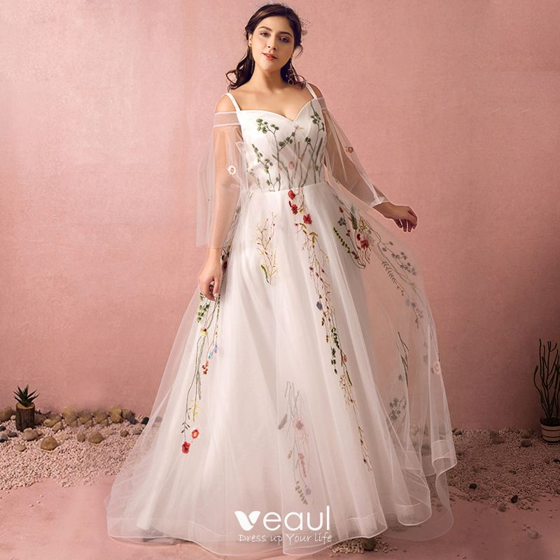 Flower Fairy White Plus Size Prom Dresses 2018 A-Line / Princess V-Neck  Tulle Backless Embroidered Prom Evening Party Evening Dresses