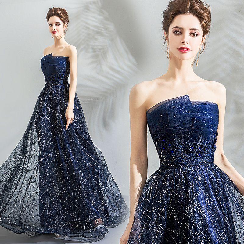 Bling Bling Bleu Marine Robe De Soirée 2018 Empire Bustier Sans Manches Cristal Paillettes Train De Balayage Volants Dos Nu Robe De Ceremonie