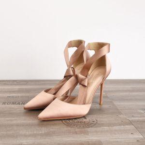 Simple Noire Désinvolte Sandales Femme 2020 Noeud Bride Cheville 10 cm Talons Aiguilles À Bout Pointu Sandales
