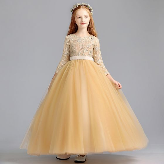 Chic / Beautiful Gold Flower Girl Dresses 2020 Ball Gown Scoop Neck 3/4 Sleeve Appliques Lace Sash Floor-Length / Long Ruffle