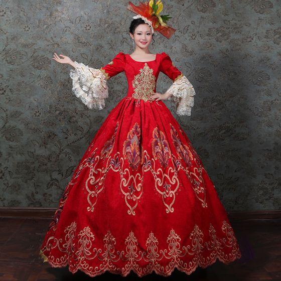 Vintage Mittelalterlich Rot Ballkleid Ballkleider 2021 Lange Ärmel Reißverschluss Eckiger Ausschnitt Lange 3D Spitze Stickerei Spitze Satin Cosplay Ball Festliche Kleider