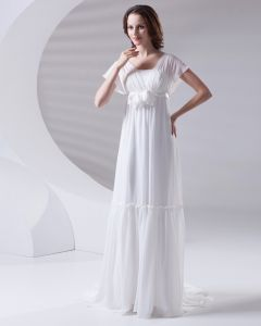 Square Pleated Floor Length Chiffon Woman Empire Wedding Dress