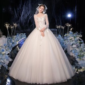 Vintage / Retro Champagne Bridal Wedding Dresses 2020 Ball Gown Square Neckline Puffy Long Sleeve Backless Appliques Lace Sequins Beading Sweep Train Ruffle
