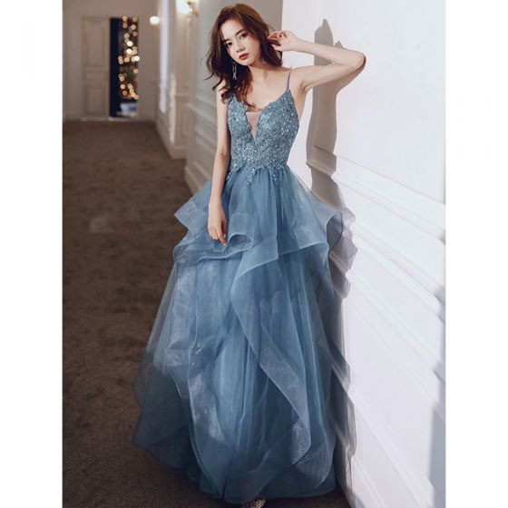 Chic / Beautiful Pool Blue Cascading Ruffles Prom Dresses 2021 A-Line / Princess Spaghetti Straps Lace Flower Sleeveless Backless Floor-Length / Long Prom Formal Dresses
