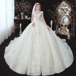 Vintage / Retro Champagne See-through Bridal Wedding Dresses 2020 Ball Gown High Neck Sleeveless Appliques Lace Beading Pearl Chapel Train Ruffle