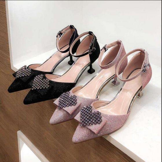 Asequible Negro Noche Zapatos De Mujer 2019 Rhinestone 5 cm Stilettos / Tacones De Aguja Punta Estrecha High Heels