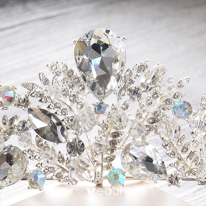 Chic / Beautiful 2017 Silver Crystal Rhinestone Metal Tiara Bridal Jewelry