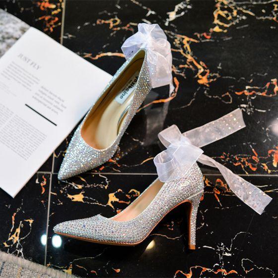 Uroczy Srebrny Buty Ślubne 2020 Kokarda Rhinestone 9 cm Szpilki Szpiczaste Ślub Czółenka