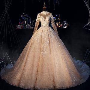 Luksusowe Szampan Suknie Ślubne 2019 Princessa Wysokiej Szyi Cekinami Frezowanie Z Koronki Kwiat Perła Kryształ Długie Rękawy Bez Pleców Trenem Królewski