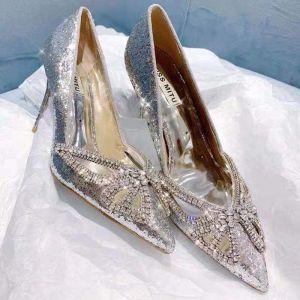 Scintillantes Argenté Chaussure De Mariée 2019 Mariage Cuir Faux Diamant Papillon Paillettes 8 cm Talons Aiguilles À Bout Pointu Escarpins
