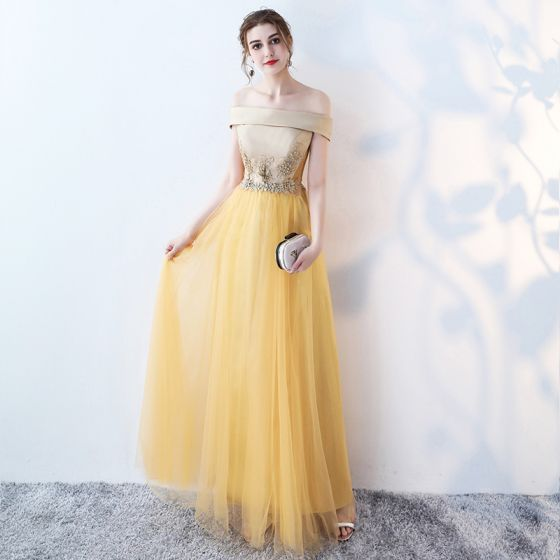 Embroidered Yellow Evening Dresses  2017 Yellow Crossed Straps Ankle Strap Appliques Strappy Chapel Train