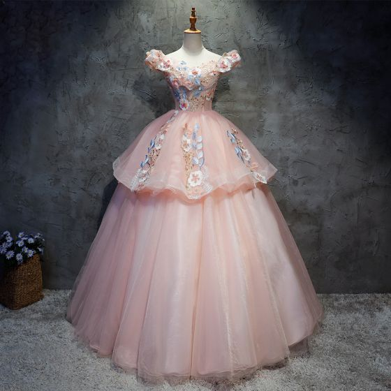 Chic / Beautiful Quinceañera Pearl Pink Prom Dresses 2020 Ball Gown Off-The-Shoulder Short Sleeve Backless Appliques Lace Sequins Beading Floor-Length / Long Ruffle Formal Dresses