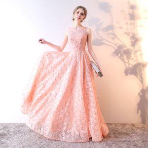 Schöne Pearl Rosa Abendkleider 2019 A Linie Rundhalsausschnitt Pailletten Spitze Blumen Ärmellos Lange Festliche Kleider