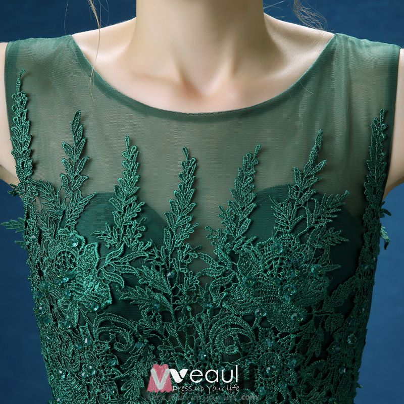 Empire Scoop Neckline Applique Lace Backless Dark Green Long Evening Dress