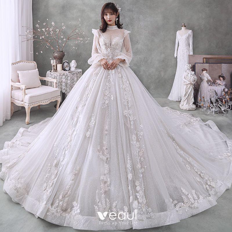Viktorianischer Stil Ivory Creme Hochzeits Brautkleider Hochzeitskleider 2020 Ballkleid Durchsichtige Stehkragen Geschwollenes Lange Armel Ruckenfreies Applikationen