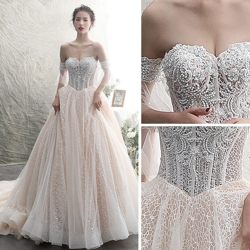 Classy Champagne Wedding Dresses 2019 A-Line / Princess Off-The-Shoulder Beading Lace Flower Sleeveless Backless Chapel Train