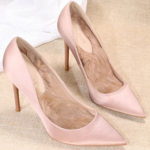 Edles Nude Satin Brautjungfer Pumps 2020 10 cm Stilettos Spitzschuh Pumps