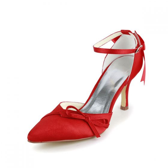 Simple Red Wedding Shoes Satin Stiletto Heels With Bow Jewelry Ankle Strap