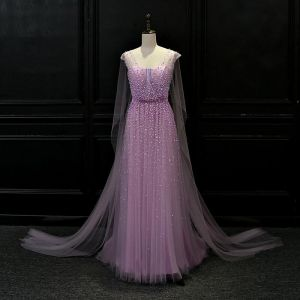 Luxury / Gorgeous Lilac See-through Evening Dresses  2018 A-Line / Princess V-Neck Beading Watteau Train Ruffle Backless Formal Dresses