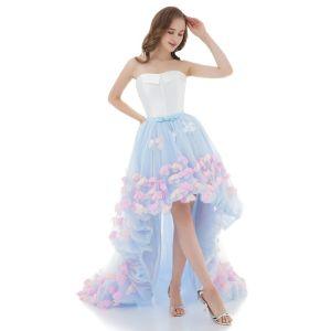Vestido Alto Blanco Azul Cielo Vestidos de cóctel 2018 Ball Gown Sweetheart Sin Mangas Multi-Colors Apliques Flor Bowknot Cinturón Asimétrico Ruffle Sin Espalda Vestidos Formales