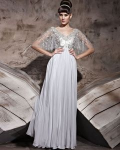 Floor Length Silk Zipper Shawl V-Neck Evening Dresses