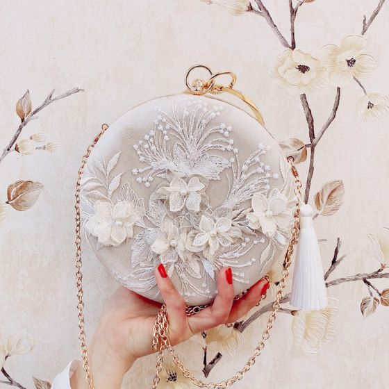 Fashion Beige Round Clutch Bags 2020 Metal Beading Pearl 3D Lace Tassel