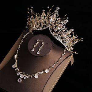 Mooie / Prachtige Goud Tiara Oorbellen Bloem Nek Ketting Bruidssieraden 2019 Metaal Rhinestone Kralen Huwelijk Accessoires