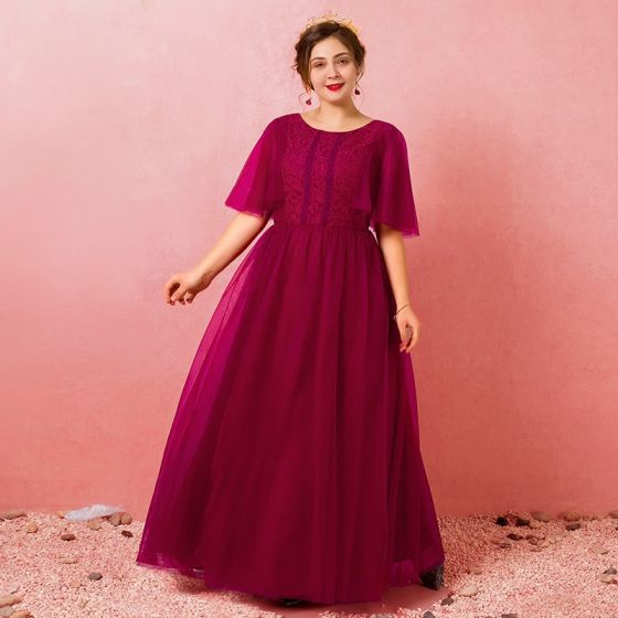 Modest / Simple Burgundy Plus Size Evening Dresses 2018 A-Line / Princess  Lace-up Tulle U-Neck Appliques Backless Evening Party Formal Dresses