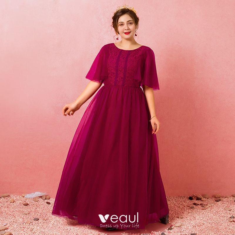 Modest / Simple Burgundy Plus Size Evening Dresses 2018 A-Line / Princess  Lace-up Tulle U-Neck Appliques Backless Evening Party Formal Dresses