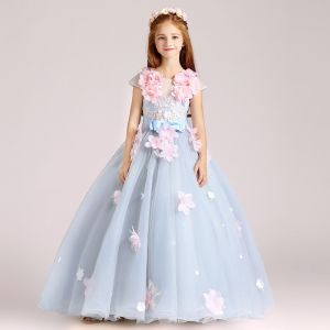 Flower Fairy Sky Blue Flower Girl Dresses 2017 Ball Gown Scoop Neck Cap Sleeves Appliques Flower Floor-Length / Long Ruffle Backless Wedding Party Dresses