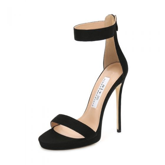 Sexy Black Rave Club Womens Sandals 2020 Leather Ankle Strap 12 cm Stiletto Heels Open / Peep Toe Sandals
