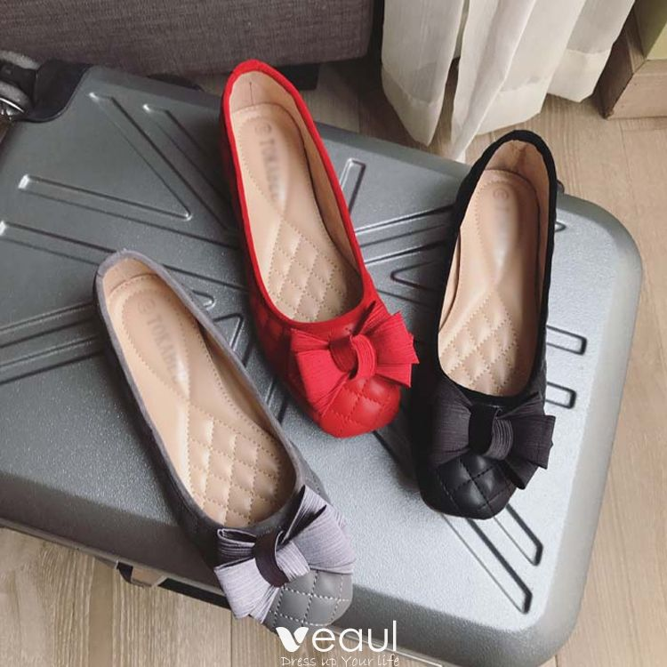 Chic / Beautiful 2017 Black Grey Red Casual Outdoor / Garden Spring Summer Strappy Flat Sandals Open / Peep Toe Womens Sandals