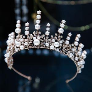 Vintage / Retro Baroque Bronze Bridal Hair Accessories 2019 Metal Tiara Pearl Rhinestone Wedding Accessories