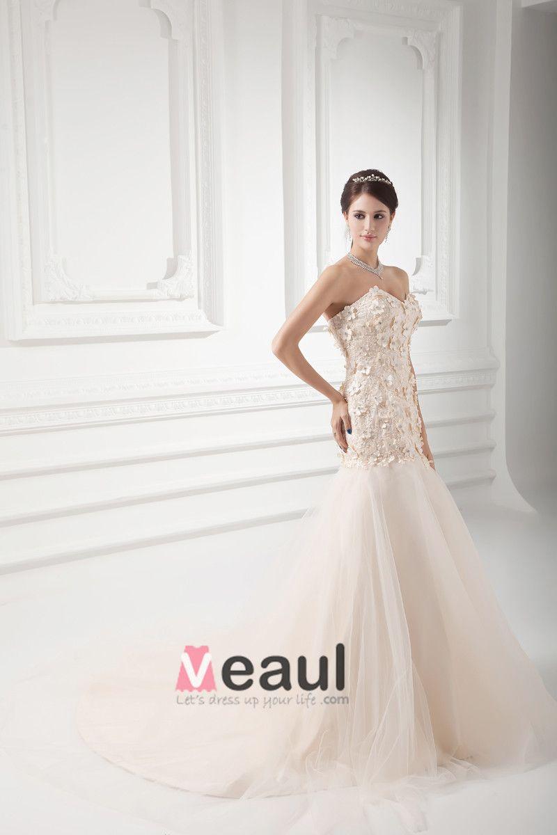 Tulle Applique Beading Sweetheart Court Train Mermaid Wedding Dress