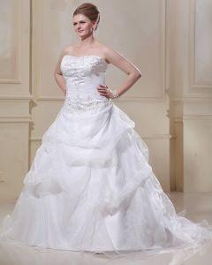 Taft Organza Perlenstickerei Sweep Große Größen Brautkleider Hochzeitskleid