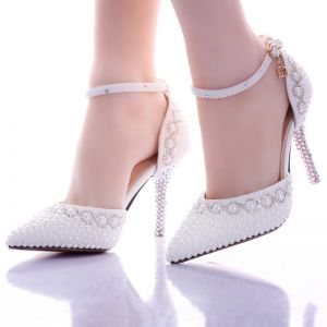 Chic / Beautiful White Womens Shoes 2017 Beading Pearl Wedding Wedding Shoes