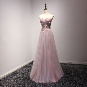 Schöne Pearl Rosa Abendkleider 2017 A Linie Lange Fallende Rüsche Herz-Ausschnitt Ärmellos Rückenfreies Perle Perlenstickerei Applikationen Blumen Festliche Kleider