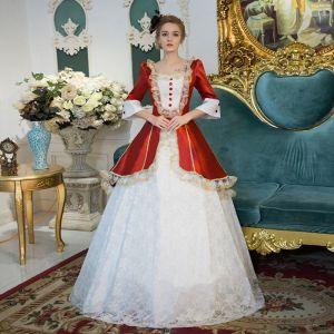 Vintage Traditionell Weiß Lange Ballkleid Ballkleider 2018 Schnüren U-Ausschnitt Tülle Kristall Ball Festliche Kleider